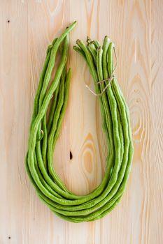 Bush beans on the wooden floor