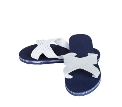 One pair of blue and white slippers