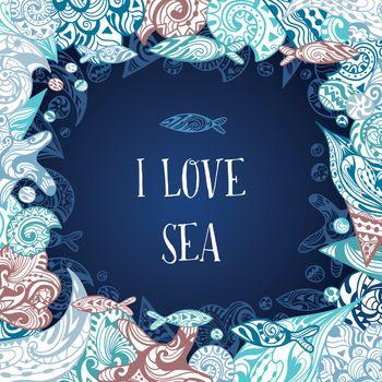 I Love Sea Vector Frame