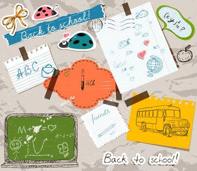 scrapbooking set with school elements.