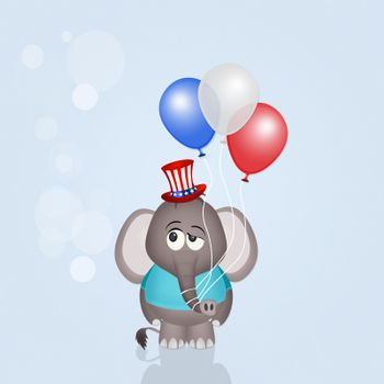 illustration of elephant with balloons for July 4th