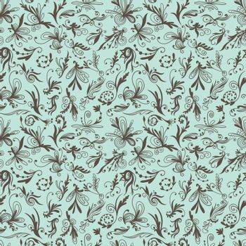 Mint and Brown Vintage Swirl Vector Pattern