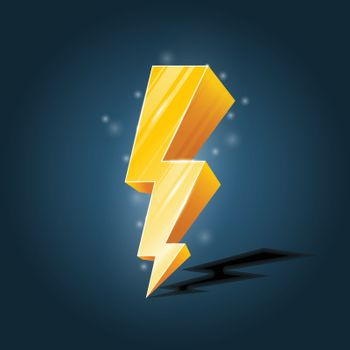 Golden, forked lightning icon with sparkles