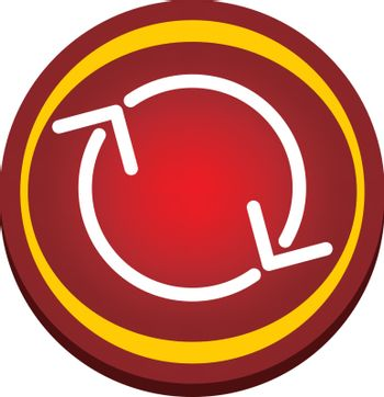 red glossy refresh button