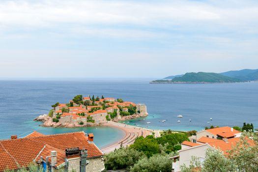 Beautiful Island and Luxury Resort Sveti Stefan, Montenegro. Balkans, Adriatic sea, Europe.