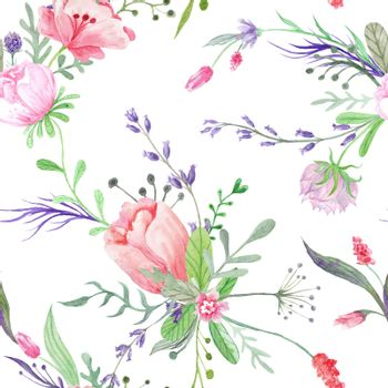 Summer Pattern with Watercolor Flowers
