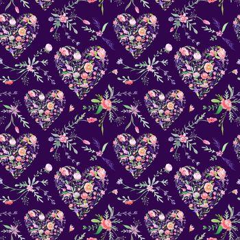 Vintage Romantic Floral Pattern on Purple Background