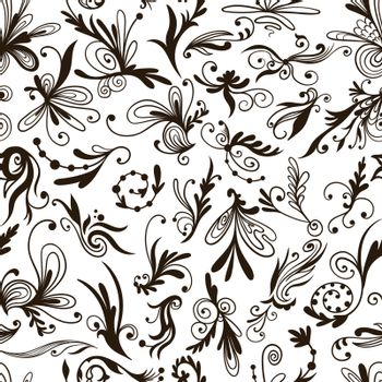 Vector Graphic Black and White Pattern with Swirls