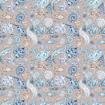 Sea Life Vintage Vector Pattern
