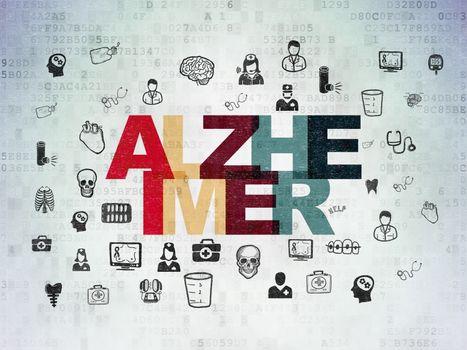 Healthcare concept: Alzheimer on Digital Data Paper background