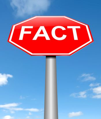 Illustration depicting a sign with a fact concept.
