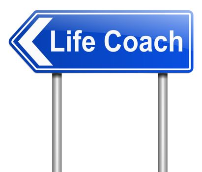 Illustration depicting a sign with a life coach concept.