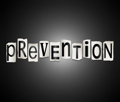 Illustration depicting a set of cut out printed letters arranged to form the word prevention.