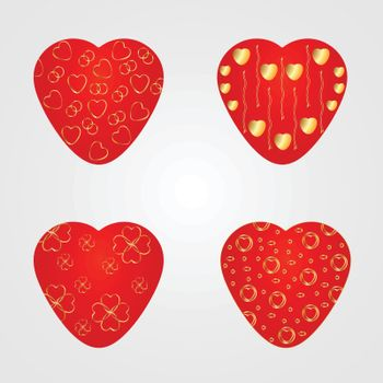 Vector red hearts with a gold pattern on a white background