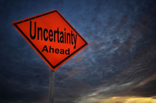 Uncertainty warning road sign