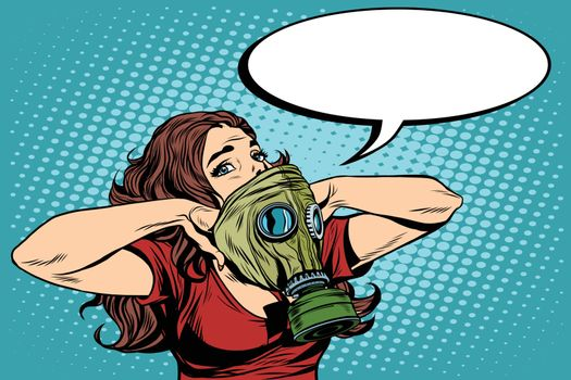 Civil defence girl wears a protective gas mask