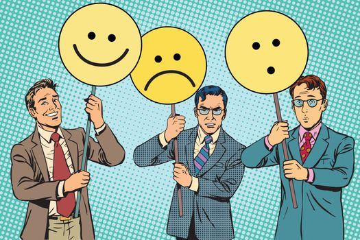 Protesters with placards Emoji joy sadness surprise