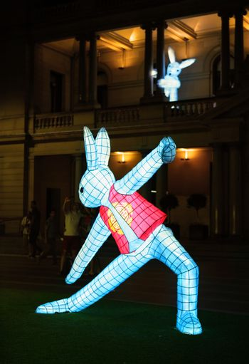 SYDNEY, AUSTRALIA - 7 FEBRUARY, 2016;  The rabbits on the lawn outside Customs House Sydney, practice tai chi or yoga.  The rabbit in the zodiac is associated with tame, tenderness. People in Rabbit sign are not aggressive but approachable. They have a decent, noble and elegant manner.