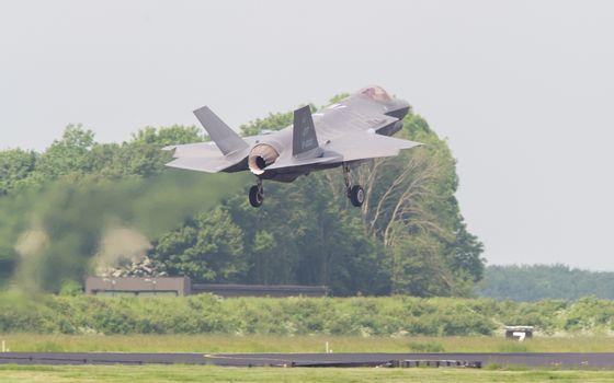 LEEUWARDEN, THE NETHERLANDS -MAY 26: F-35 fighter during it's first test in Europe on May 26, 2016 in Leeuwarden. It is the world's most advanced multi-role fighter.