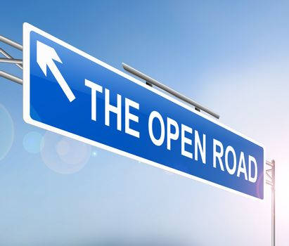 Illustration depicting a sign with an open road concept.