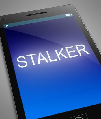 Illustration depicting a phone with a stalker concept.