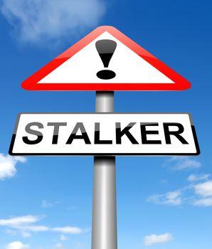Illustration depicting a sign with a stalker concept.