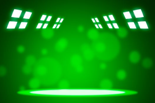 Spotlight beams on smog green background