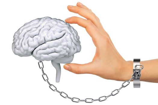 Chained hand holding human brain