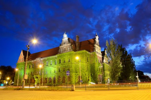 WROCLAW, POLAND - MAY 30: Wroclaw's National Museum, historical building  by night. In 2016 Wroclaw is European Capitol of Culture.