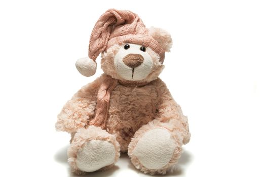 The photo depicts a teddy bear in a cap