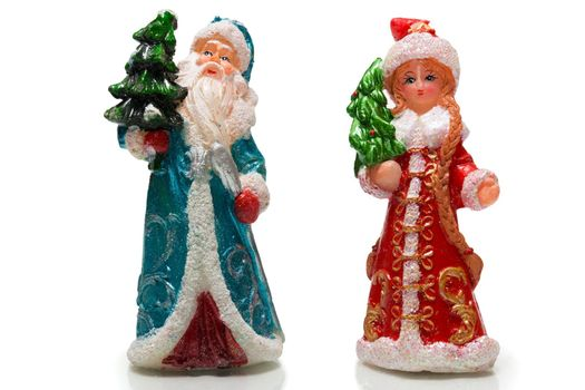 The photograph depicts Santa Claus and Snow Maiden