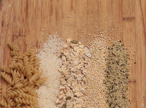Multiple organic grains, including fusilli