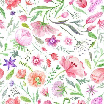 Bright Vintage Watercolor Summer Pattern