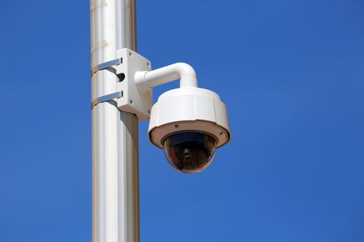 Dome Type Outdoor CCTV Camera on Street Lamp in Nice, France