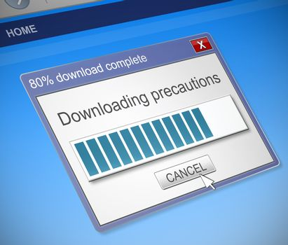 Illustration depicting a computer dialog box with a downloading precautions concept.