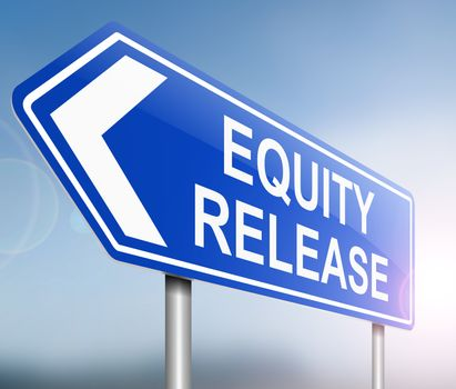 Illustration depicting a sign with an equity release concept.