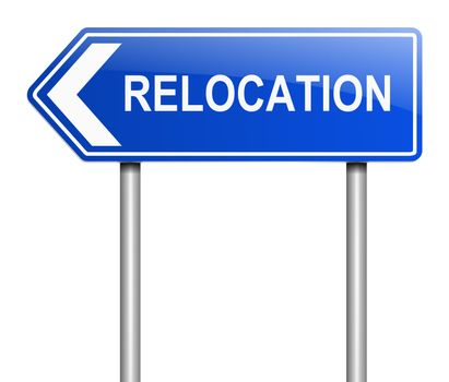Illustration depicting a sign with a relocation concept.
