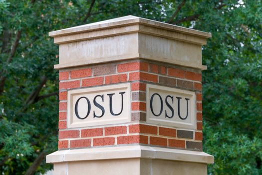 STILLWATER, OK/USA - MAY 20, 2016: OSU Lettering on column on the campus of Oklahoma State University.