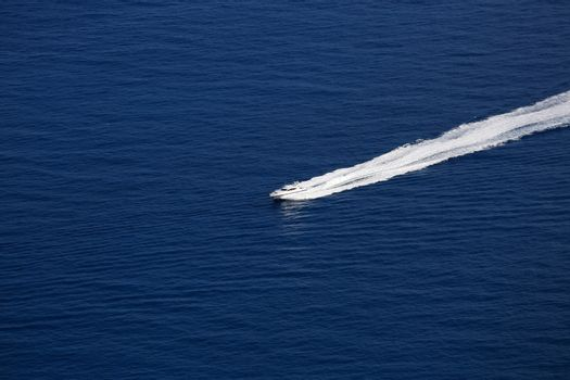 Luxury Boat Wake on Mediterranean Sea, between Cap d'Ail and Monaco