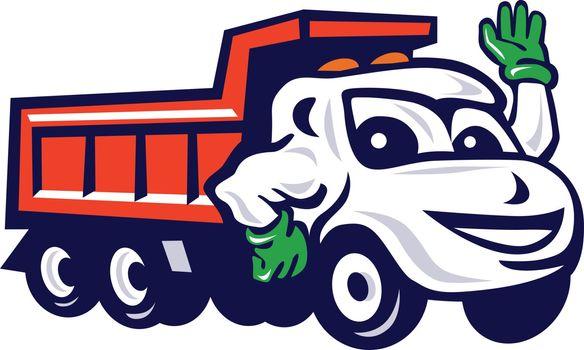Dump Truck Waving Cartoon