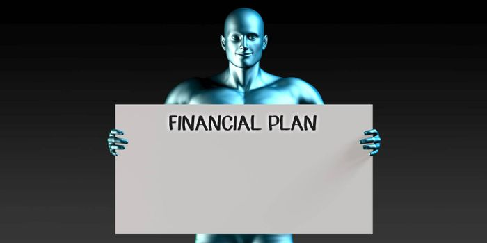 Financial Plan with a Man Carrying Reminder Sign