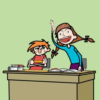 Schoolboy and schoolgirl in the classroom line art comic caricature. Girl student wants to respond to the instructions of the teacher. Losers boy glumly looking at the girl