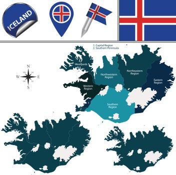 Map of Iceland with Named Regions