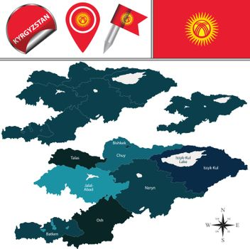 Map of Kyrgyzstan with named regions