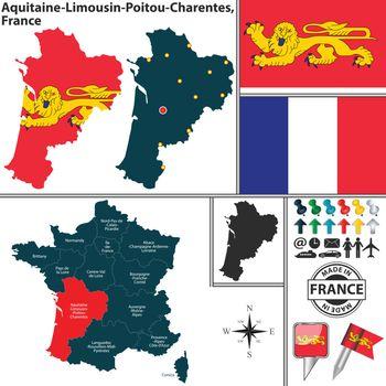 Map of Aquitaine-Limousin-Poitou-Charentes, France