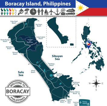Map of Boracay island, Philippines