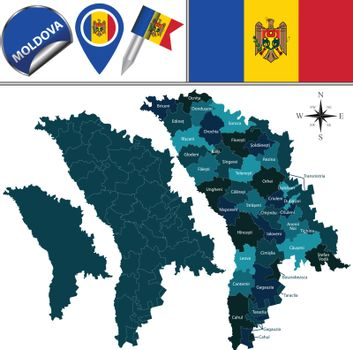 Map of Moldova with named divisions