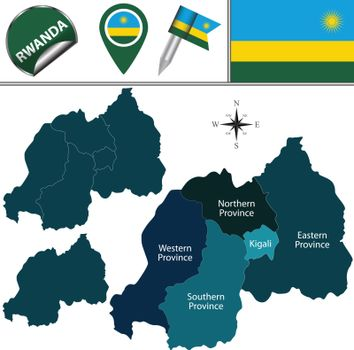 Map of Rwanda with named provinces