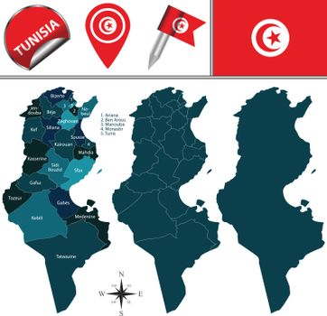 Map of Tunisia with named governorates