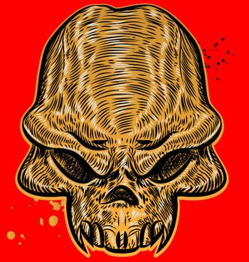 horror skull on red background